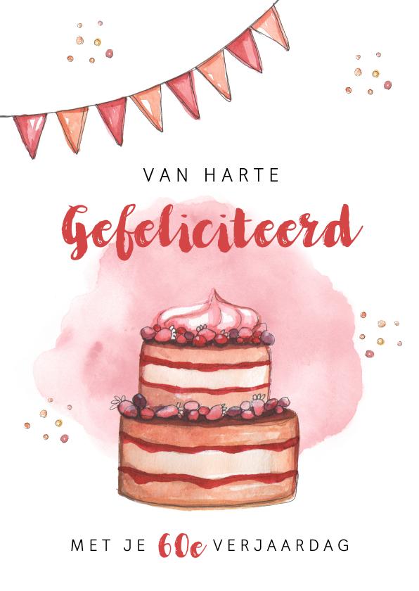 Verjaardagskaarten - Verjaardagskaart felicitatie taart waterverf slingers