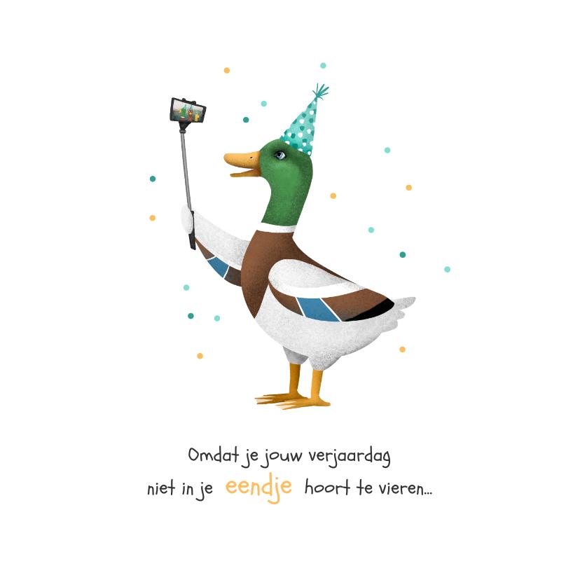 Verjaardagskaarten - Verjaardagskaart felicitatie verjaardag eend facetime selfie