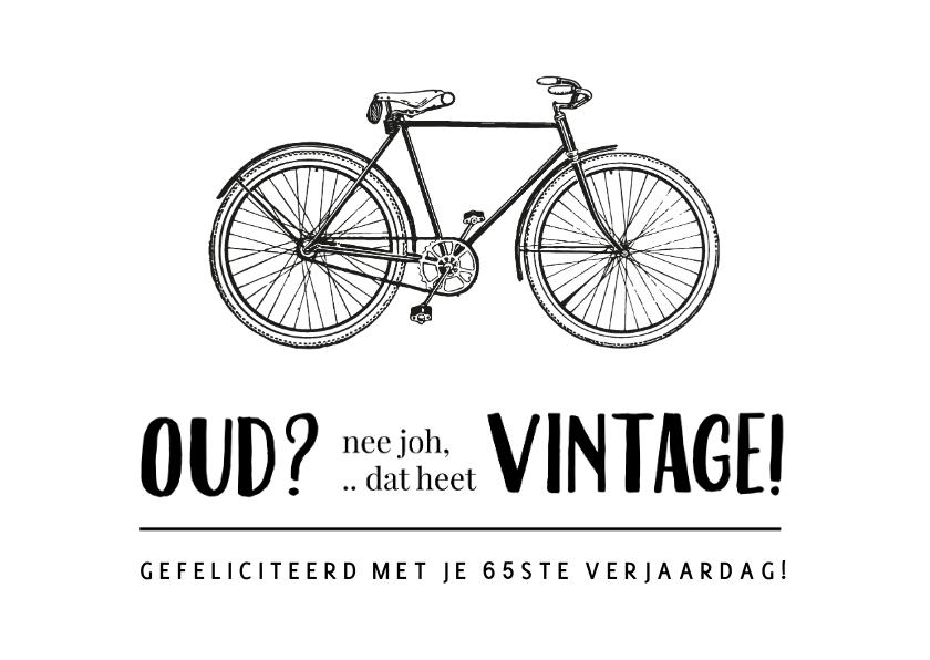 Verjaardagskaarten - Verjaardagskaart fietsen wielrennen - niet oud maar vintage