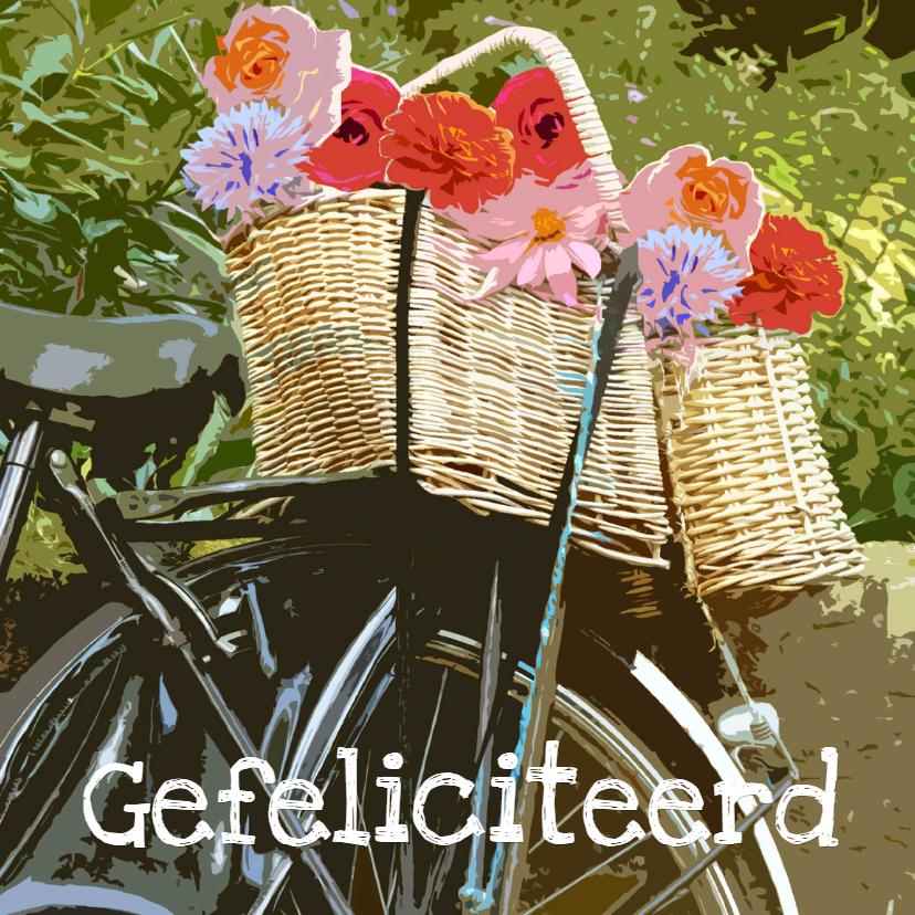 Verjaardagskaarten - Verjaardagskaart fietsmand bloemen