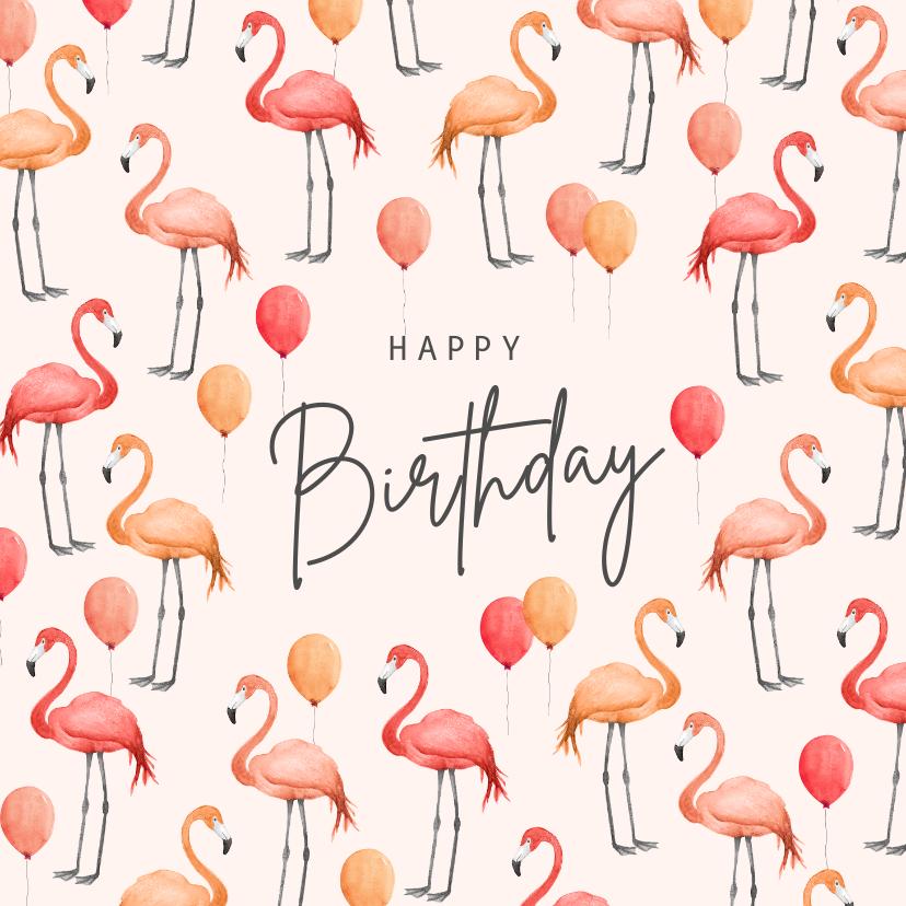 Verjaardagskaarten - Verjaardagskaart flamingo ballonnen roze waterverf