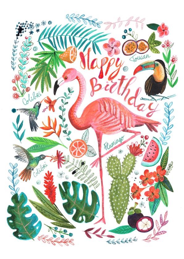 Verjaardagskaarten - Verjaardagskaart flamingo en toucan in tropische jungle