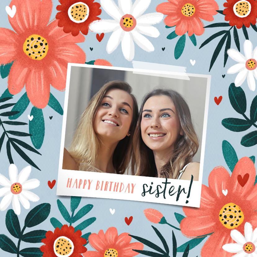 Verjaardagskaarten - Verjaardagskaart fleurig met bloemen hartjes en eigen foto