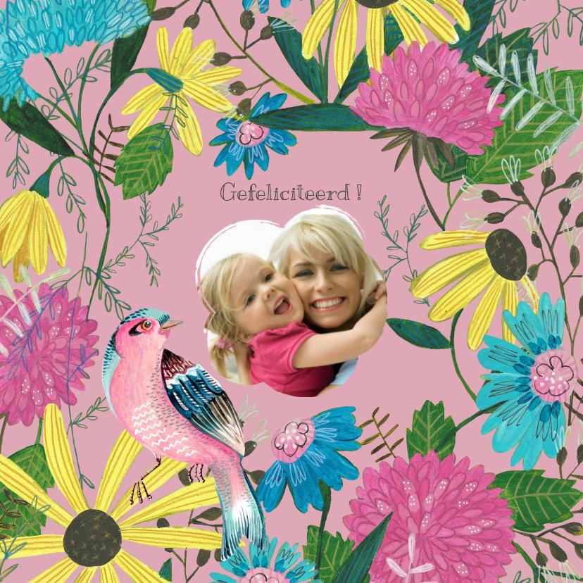 Verjaardagskaarten - Verjaardagskaart foto bloemen pracht