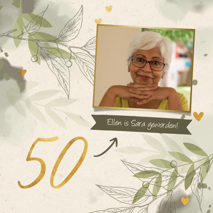 Verjaardagskaarten - Verjaardagskaart foto takjes gouden hartjes en waterverf gro