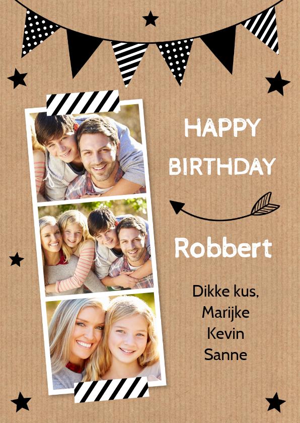 Verjaardagskaarten - Verjaardagskaart fotocollage slinger kraft