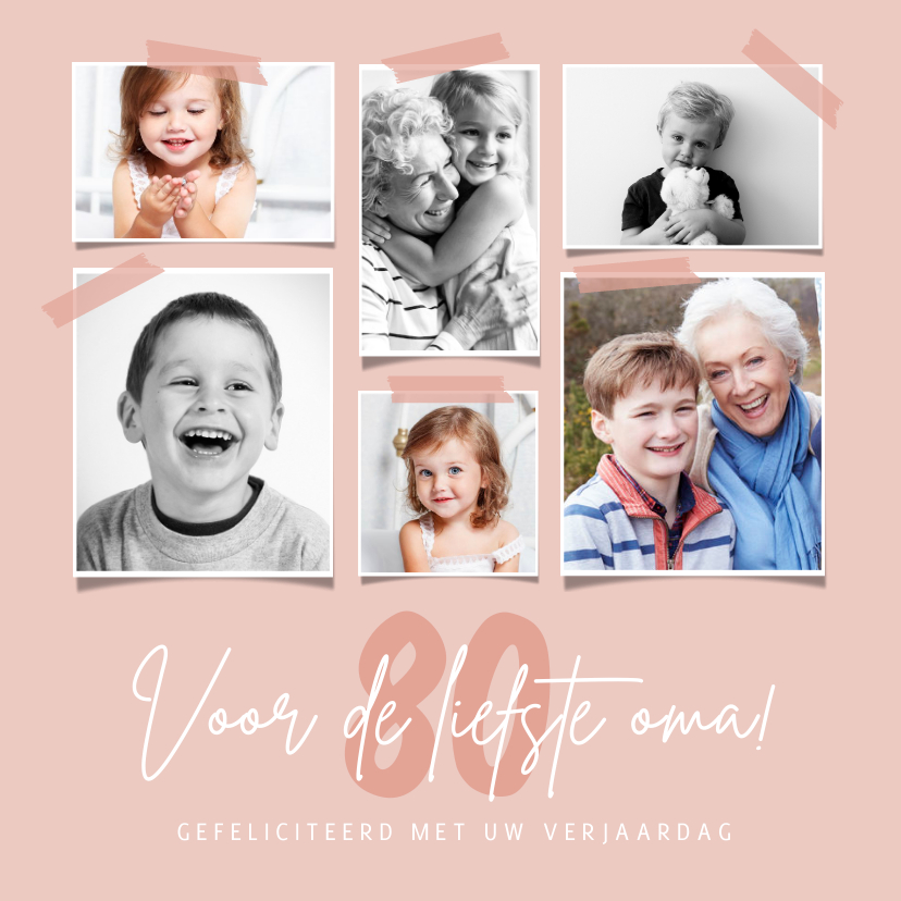 Verjaardagskaarten - Verjaardagskaart fotocollage stijlvol oma gefeliciteerd