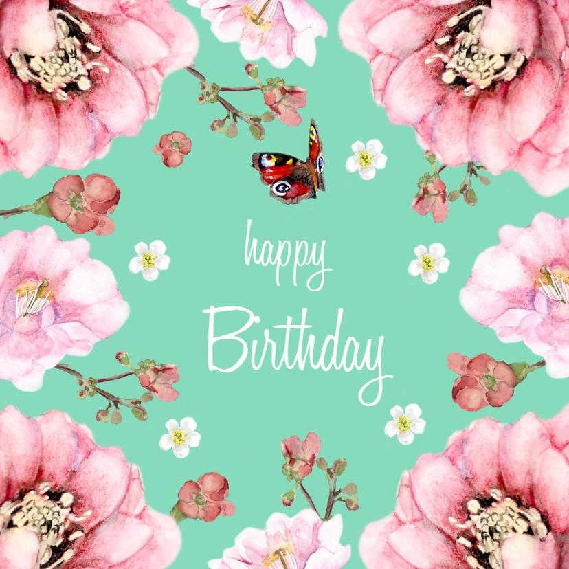 Verjaardagskaarten - Verjaardagskaart Frisse bloemen