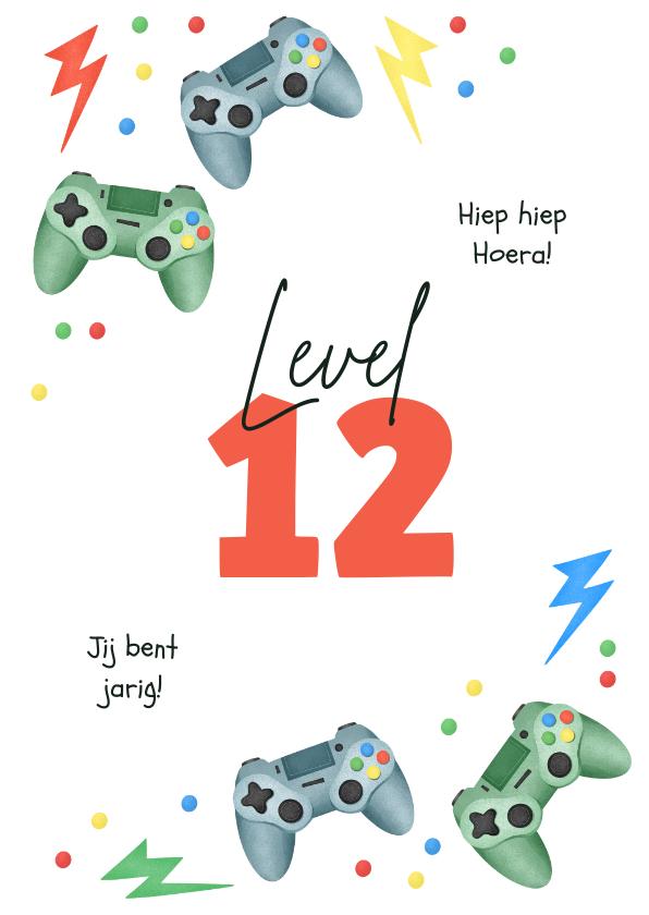 Verjaardagskaarten - Verjaardagskaart gaming controllers level confetti