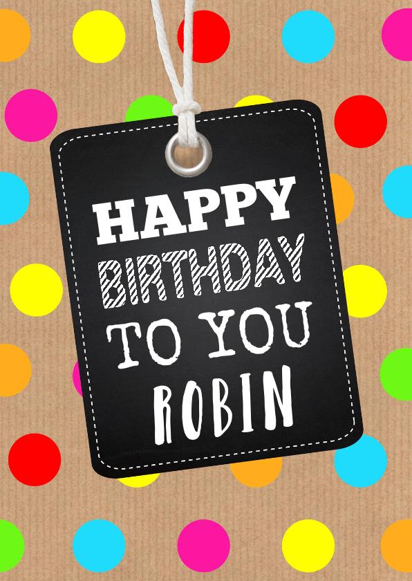 Verjaardagskaarten - Verjaardagskaart gekleurde stippen labelprint