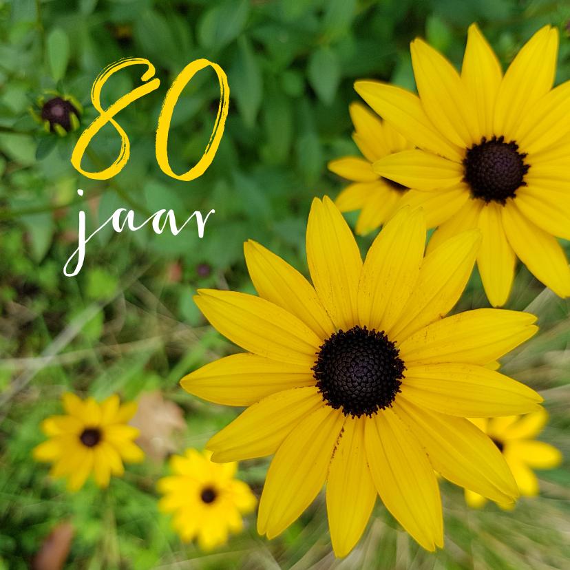 Verjaardagskaarten - Verjaardagskaart Gele bloemen 80 jaar