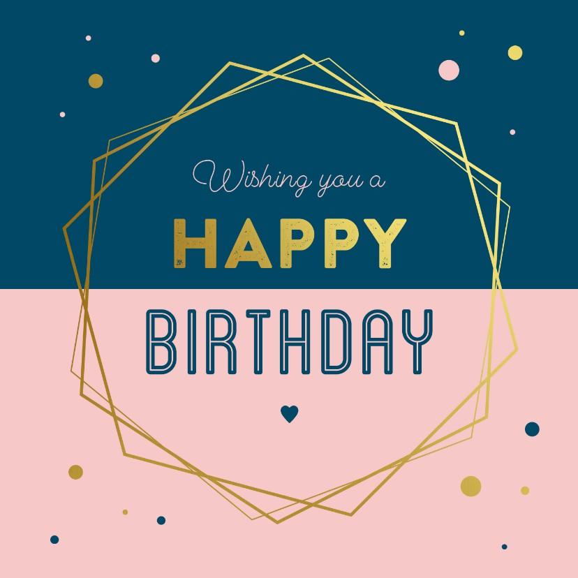 Verjaardagskaarten - Verjaardagskaart geometrisch kader