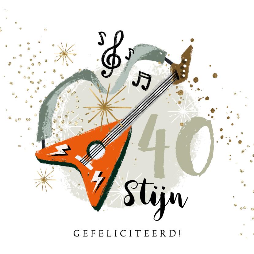 Verjaardagskaarten - Verjaardagskaart getal gitaar muzieknoot sterren goudlook