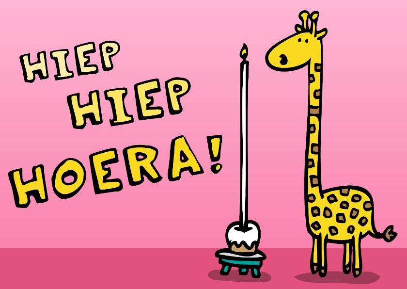 Verjaardagskaarten - Verjaardagskaart giraffe met taart