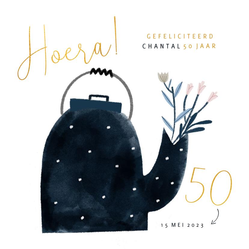 Verjaardagskaarten - Verjaardagskaart gouden 50 theepot en bloemen