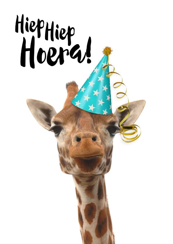 Bekend Verjaardagskaart grappige giraf met feesthoedje  #EC-38