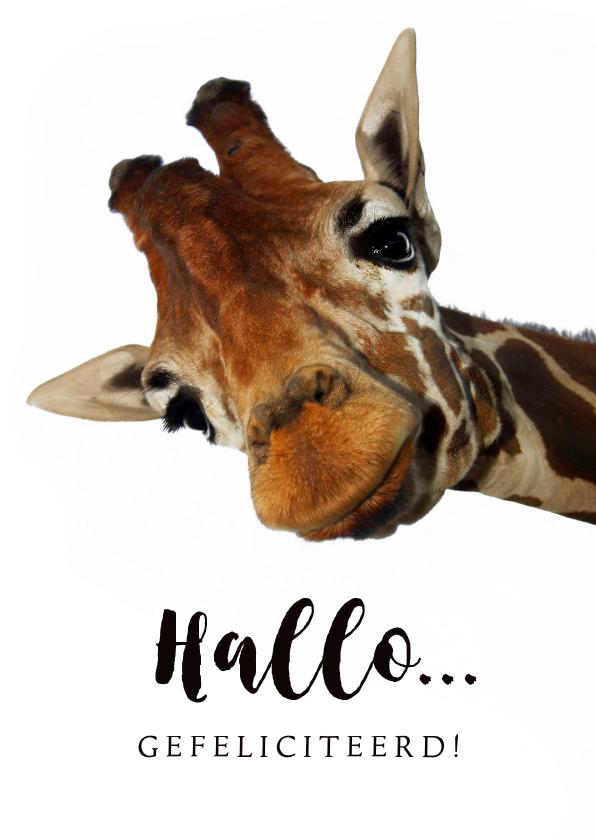 Verjaardagskaarten - Verjaardagskaart grappige giraf