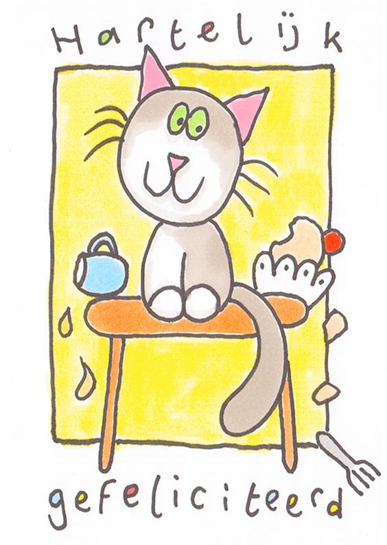 Verjaardagskaarten - Verjaardagskaart grappige kat