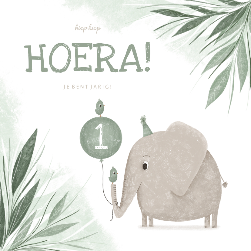 Verjaardagskaarten - Verjaardagskaart groen 1 jaar olifant met vogeltje