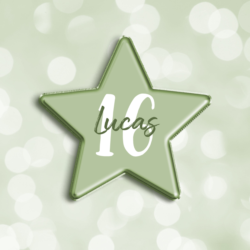 Verjaardagskaarten - Verjaardagskaart groen met leeftijd in folieballon ster