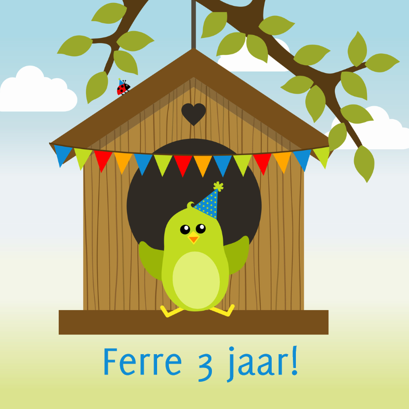 Verjaardagskaarten - verjaardagskaart groen vogeltje in vogelhuisje - DD