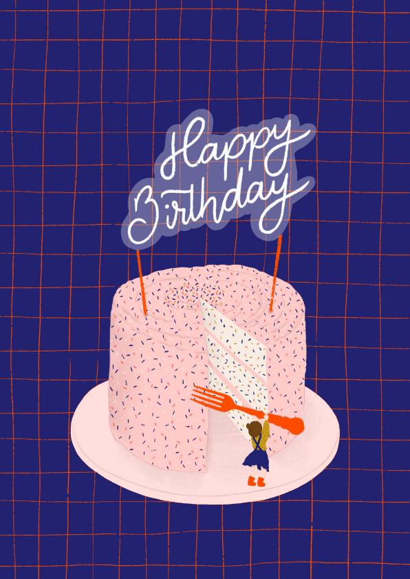 Verjaardagskaarten - Verjaardagskaart - grote taart klein meisje