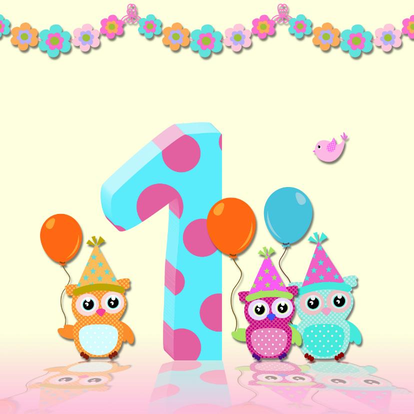 Verjaardagskaarten - Verjaardagskaart guirlande meisje
