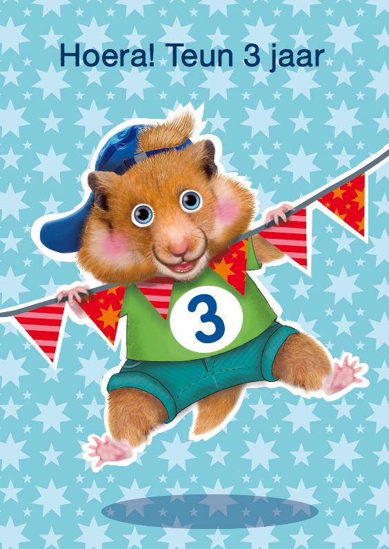 Verjaardagskaarten - verjaardagskaart hamster jongen 3 jaar
