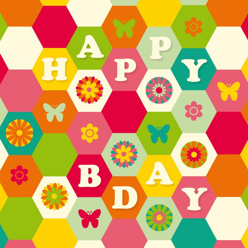 Verjaardagskaarten - Verjaardagskaart Happy Bday