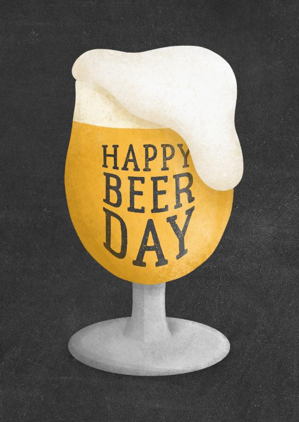 Verjaardagskaarten - Verjaardagskaart happy beer-day krijtbord