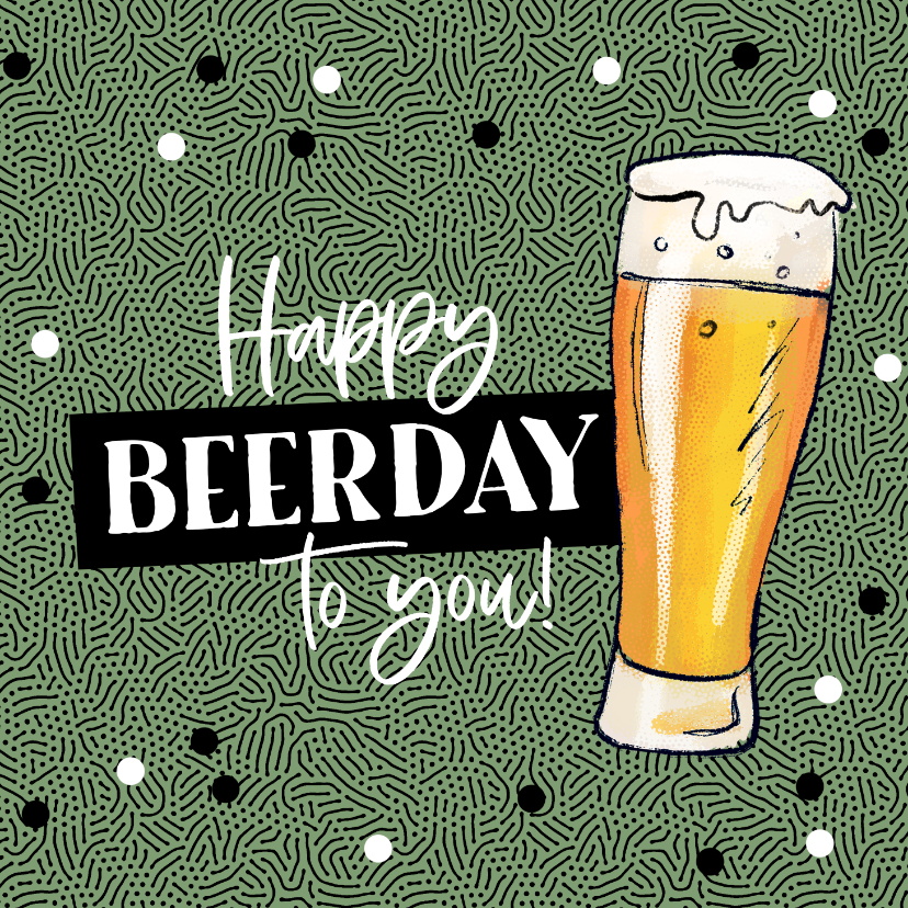 Verjaardagskaarten - Verjaardagskaart happy beerday bier stoer man confetti