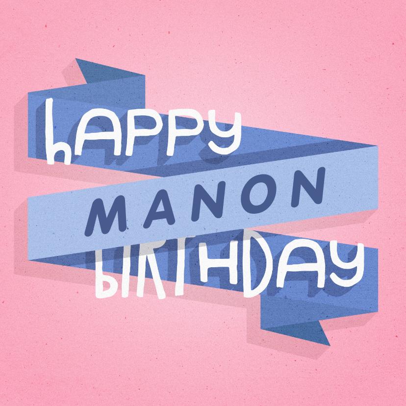 Verjaardagskaarten - Verjaardagskaart happy birthday banner met naam