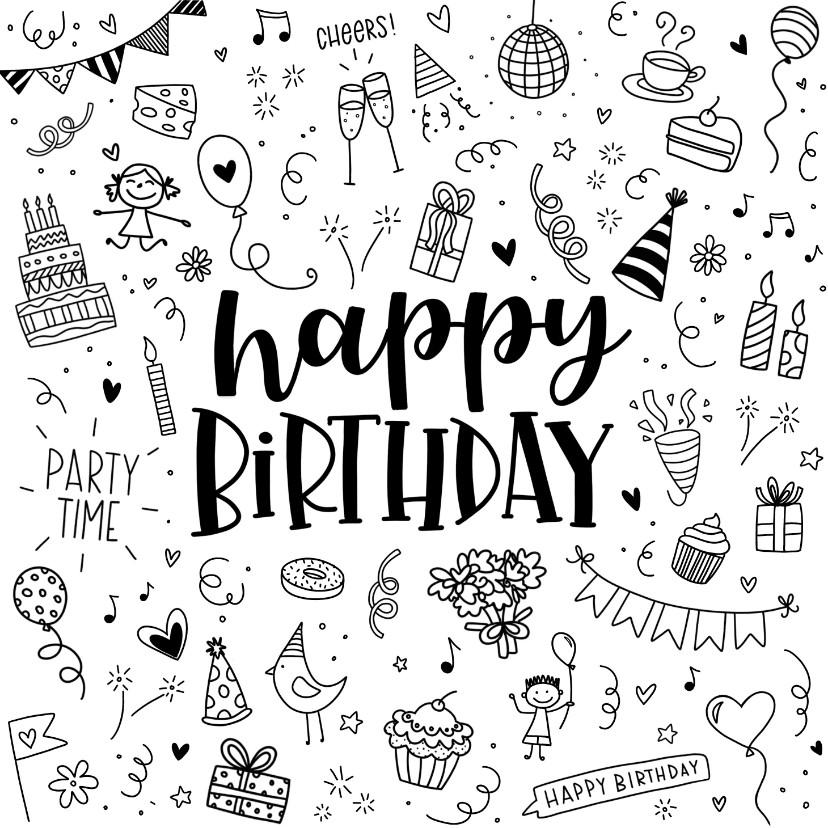 Verjaardagskaarten - Verjaardagskaart - Happy birthday doodles