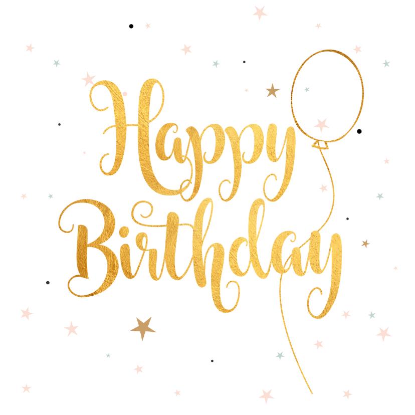 Verjaardagskaarten - Verjaardagskaart Happy Birthday gold