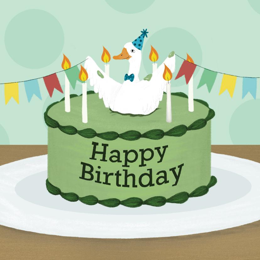Verjaardagskaarten - Verjaardagskaart Happy Birthday met een vrolijke gans