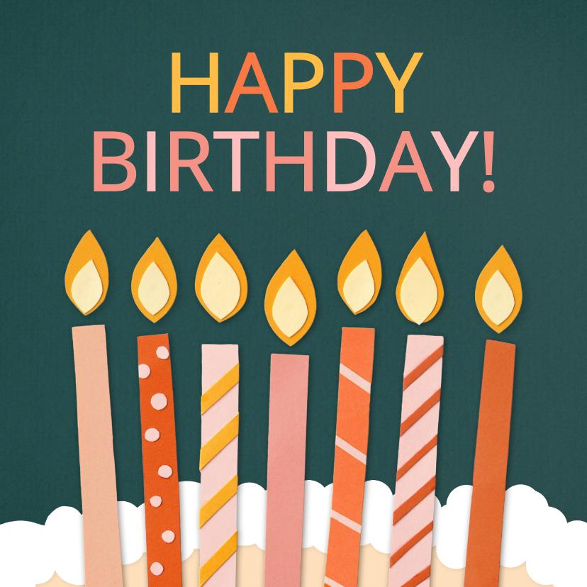 Verjaardagskaarten - Verjaardagskaart Happy Birthday met kaarsen