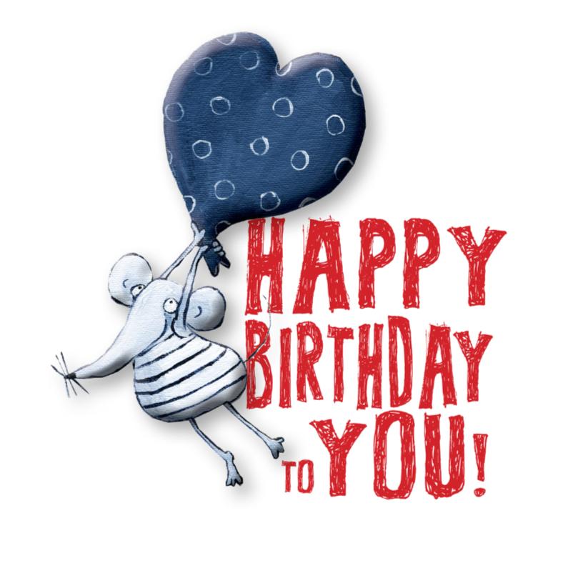 Verjaardagskaarten - Verjaardagskaart Happy Birthday Mouse
