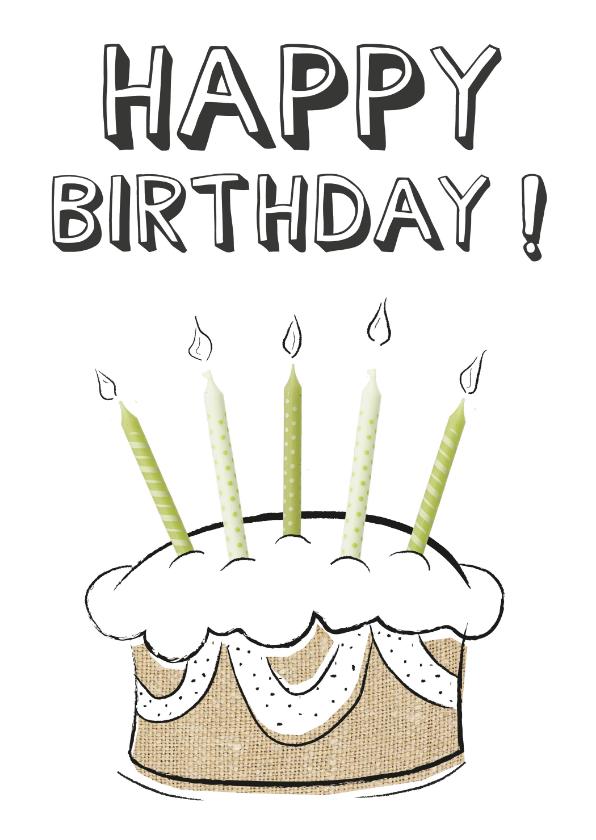 Verjaardagskaarten - Verjaardagskaart happy birthday tekst met creatieve taart