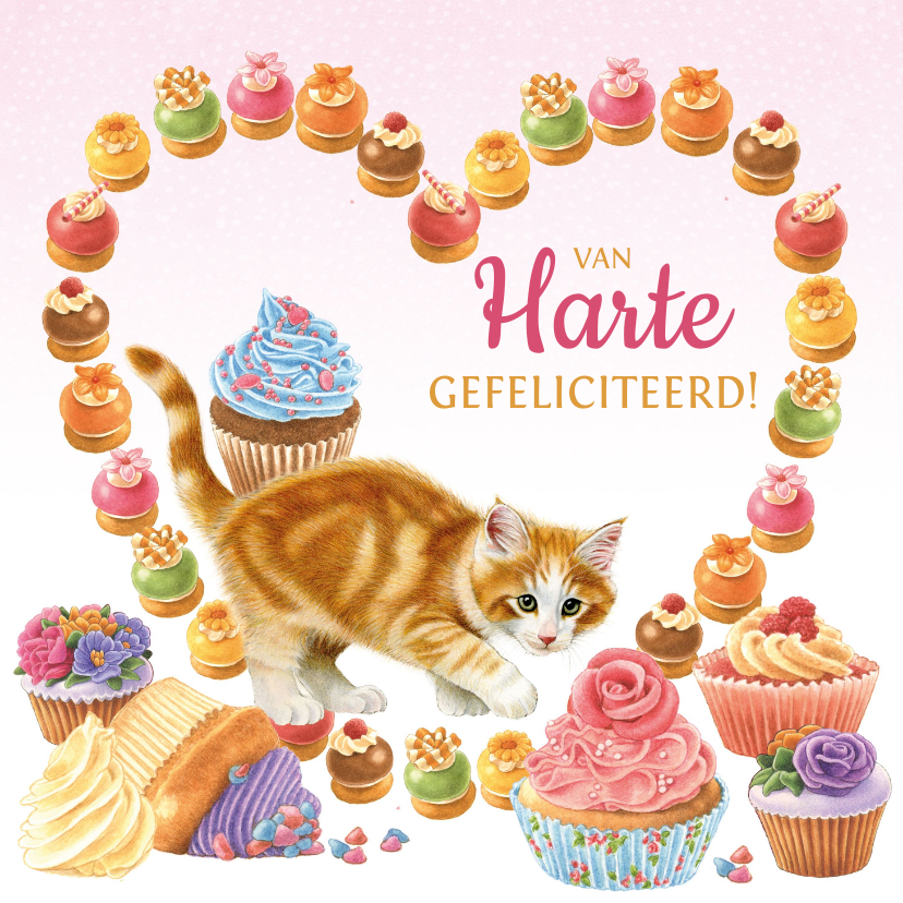 Verjaardagskaarten - Verjaardagskaart hart van gebakjes