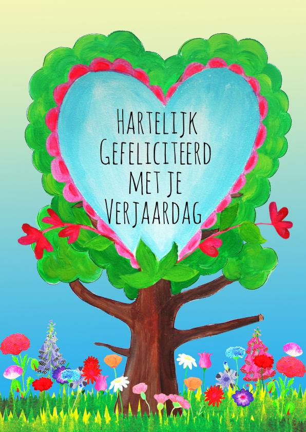 Verjaardagskaarten - Verjaardagskaart hartenboom PA