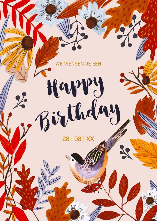 Verjaardagskaarten - Verjaardagskaart herfst bloemen en vogel