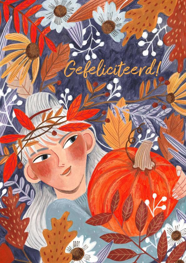 Verjaardagskaarten - Verjaardagskaart herfstbladeren meisje