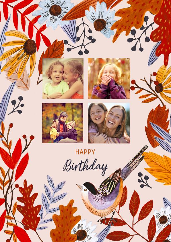 Verjaardagskaarten - Verjaardagskaart herfstbladeren met foto collage