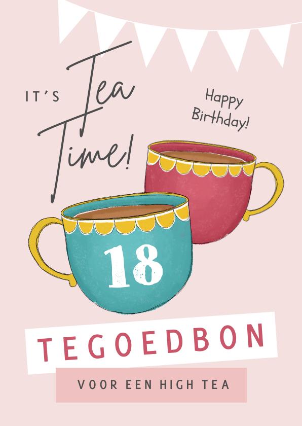 Verjaardagskaarten - Verjaardagskaart high tea thee tegoedbon slingers