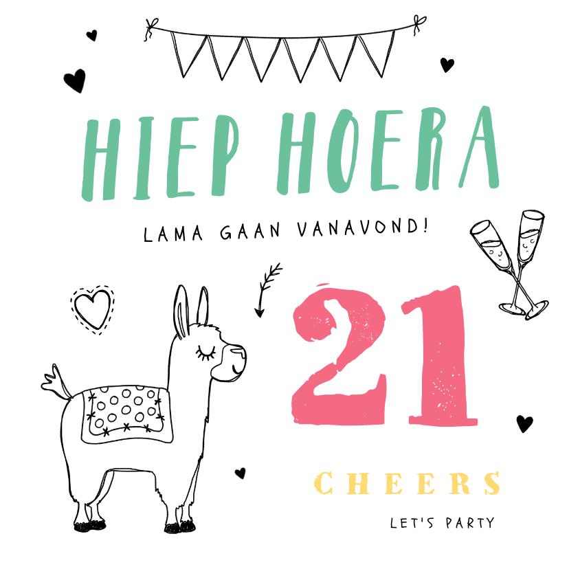 Verjaardagskaarten - Verjaardagskaart hip lama feest slingers doodle hartjes