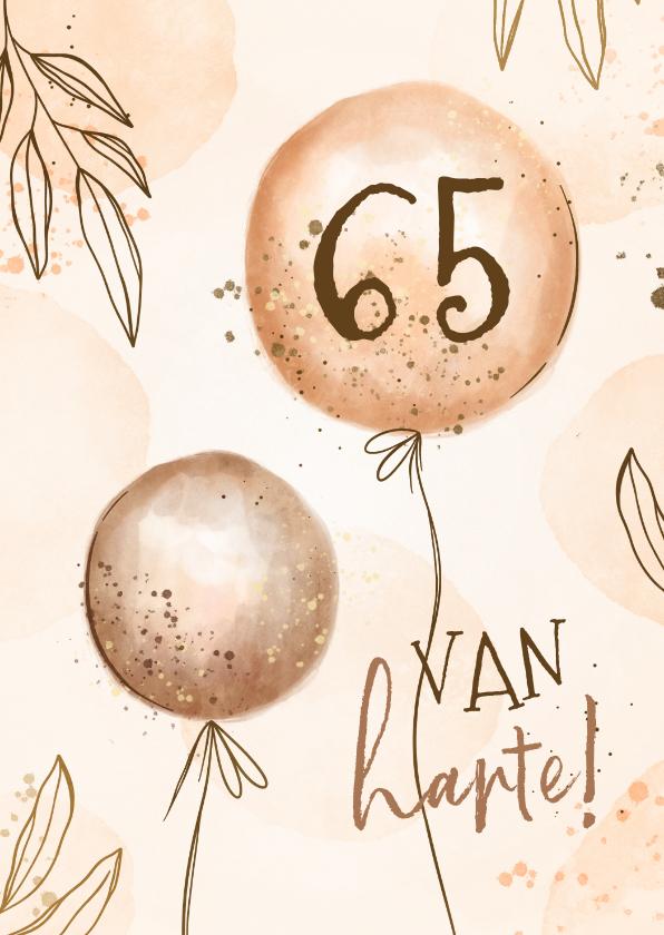 Verjaardagskaarten - Verjaardagskaart hip met leeftijd en ballonnen
