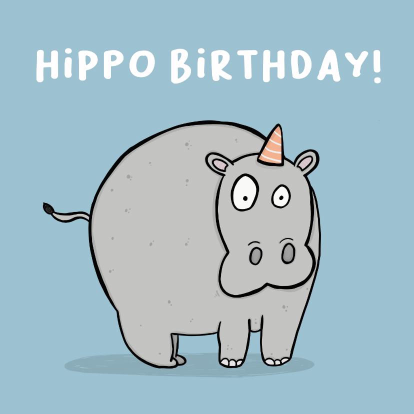 Verjaardagskaarten - Verjaardagskaart Hippo Birthday woordgrap.