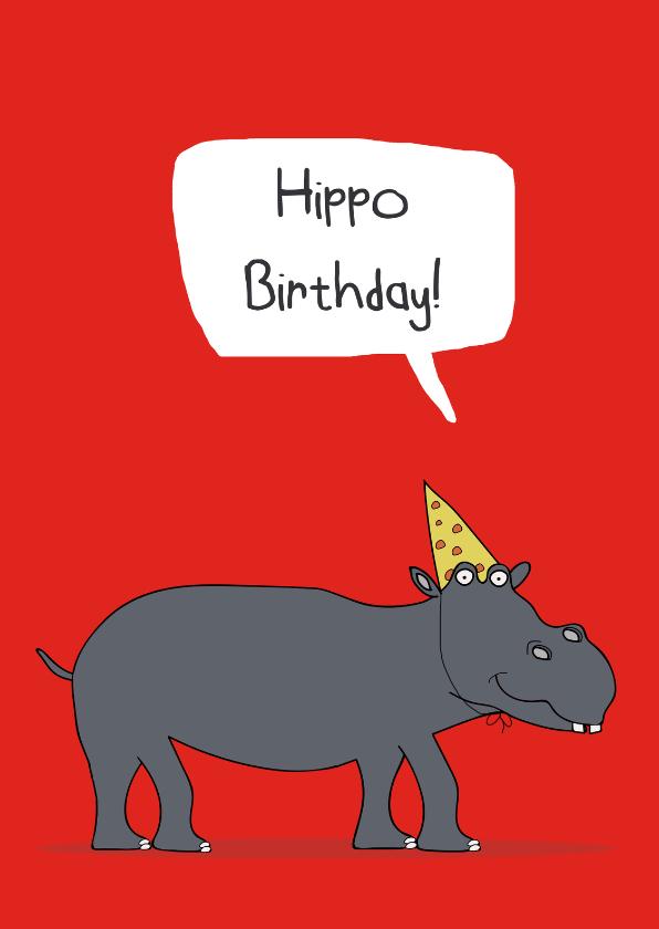 Verjaardagskaarten - Verjaardagskaart Hippo Birthday!