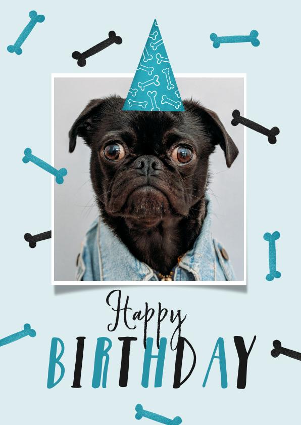Verjaardagskaarten - Verjaardagskaart hond happy birthday foto botjes feest