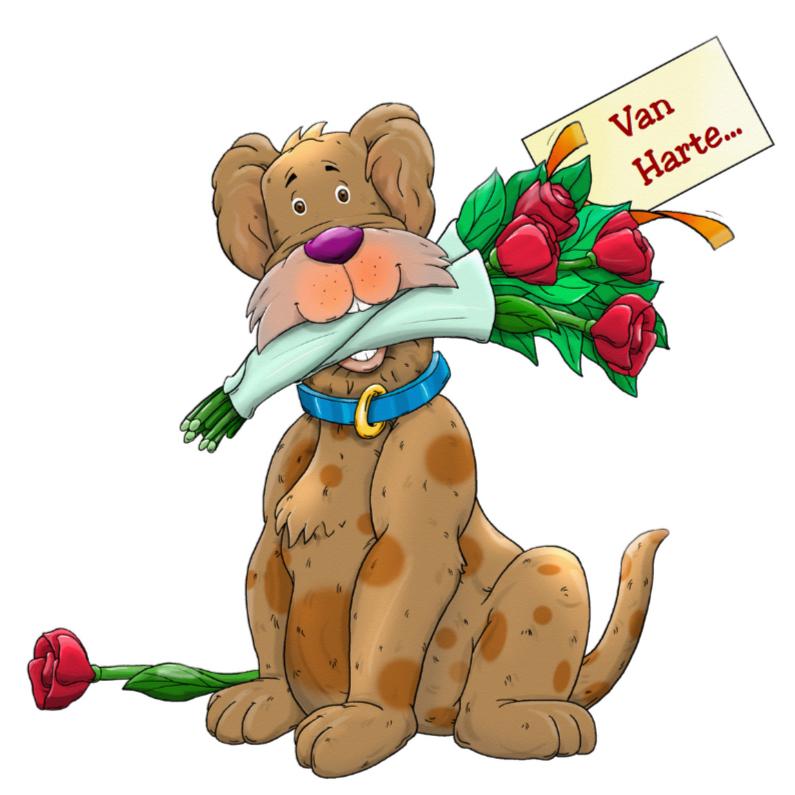 Verjaardagskaarten - Verjaardagskaart Hond met rozen en label met tekst Van Harte